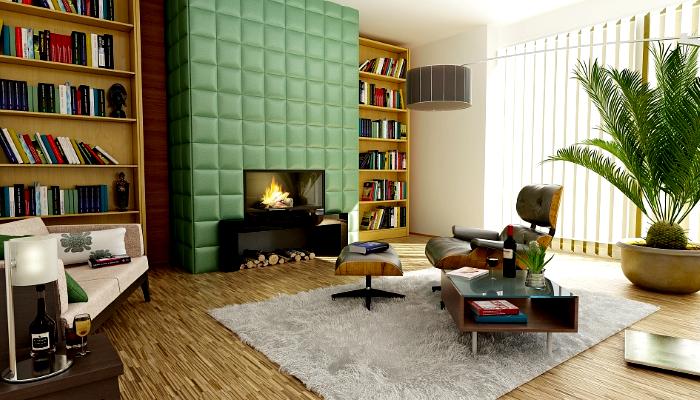 salón-decorado-color-verde-decoración-moderna-minimalista-verde